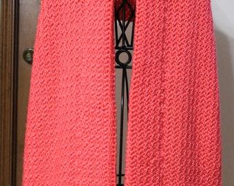 Beautiful soft Flamingo color crochet shawl,wrap