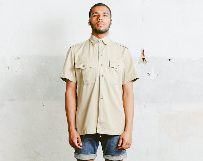 Vintage Military Style Shirt . Mens Short Sleeve Beige 90s Shirt Safari Clothing 90s Summer Shirt Boy Scout Mens Camping Shirt . size Medium