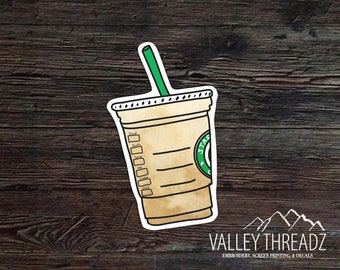 Coffee Cup Decal - Coffee Vinyl Decal -Iced Coffee Sticker - Car Window Decal - Laptop Sticker - Tumbler Decal - Vinyl Sticker - Vinyl Decal