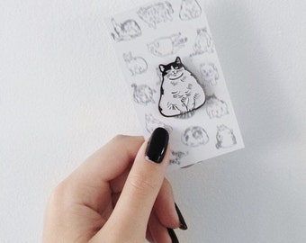 Drunk cat pin-cats gift-i like cat-lapel pin-enamel pin-black and white-pin-cat pin-kawaii-horse fiddle press-cat-cat lady-brooch-silly gift