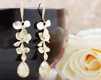 Wedding Jewelry Bridesmaid Earrings Dangle Earrings Gold plated Orchid Trio charm with Golden Shadow Swarovski Crystal drop Earrings