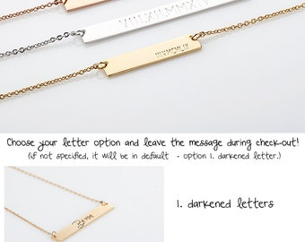 Roman Numeral Bar Necklace, Wedding Date Necklace Rose Gold, Personalized Gold Bar Silver Bar Necklace, Bridesmaid Jewelry, Anniversary Gift