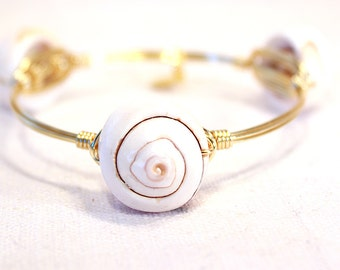 Puka Shell Wire Wrapped Bangle Bracelet Stackable Bangle Stacking Bracelets Gold Wire Bangles by Falling Leaf Bangles