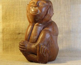 Smiling Man Vintage Carved Wooden Sculpture
