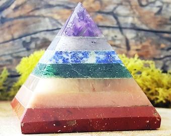 7 Chakra Layered Crystal Pyramid - 640