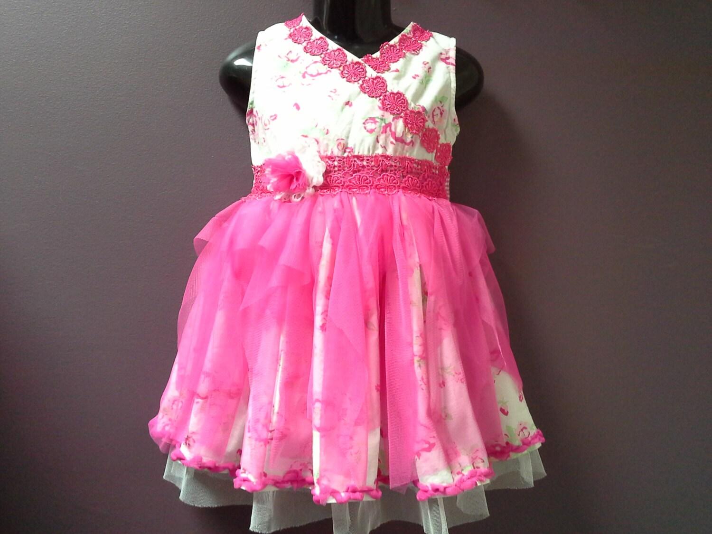 GIRLS PARTY DRESS toddler tutu dress pink white tulle dress