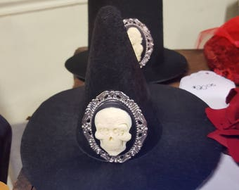 Mini Witch Hat with Sugar Skull Cameo- Perfect for Halloween
