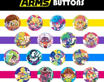 ARMS (Nintendo) Pinback Buttons - All 15 Characters + Biff!