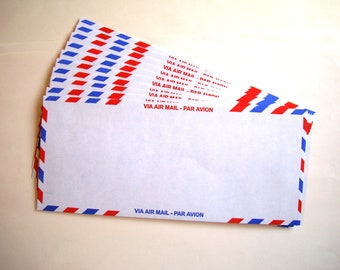 Vintage Air Mail Letter Envelopes - Via Air Mail - Par Avion - Set of 10 - Retro International Collage Scrapbooking Crafting Paper Ephemera