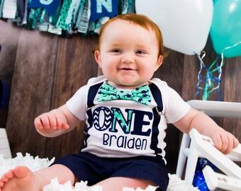 Baby boy Whale theme first birthday onesie, ONE year baby boy 1st birthday whale theme outfit, Customizable baby boy suspenders s