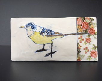 Grey Wagtail bird with On glaze Lustre & Floral Enamels.