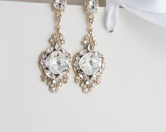 Gold Wedding Earrings Crystal Earrings Bridal Jewelry Earrings Drop Dangle Earrings Wedding Jewelry Cushion Cut Swarovski Crystal ESTELLA