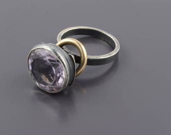 Large Amethyste Statement Ring. Contemporary Ring. Industrial Jewelry. Dangle 14k Goldfield Ring.Unique Black Silver Ring.Large Round Stone.
