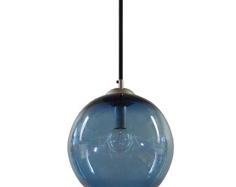Steel BLUE Gumball Hand Blown Glass Pendant Lighting Bubble Glass Pendant Lights-Made in USA