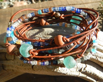 Boho Jewelry,  Boho Wrap Bracelet Leather Wrap Beaded Wrap Leather Bracelet Wrap Leather gift for her leather  Natural Leather beaded wrap