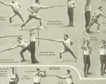 1949 Vintage sports poster fencing poster Cane fighting Stick fighting gift Fencing print Cane fight print French dictionary page