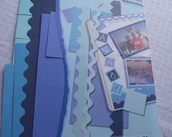 BLUE Cardstock Page Accents,Blue Page EMBELLISHMENTS,Scrapbook Supplies,Blue CARDSTOCK,Paper Crafts