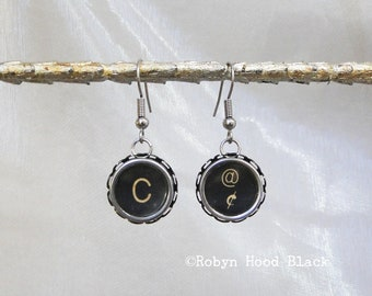 Typewriter Key Earrings Vintage  Letter C and At - Cents Symbols Keys