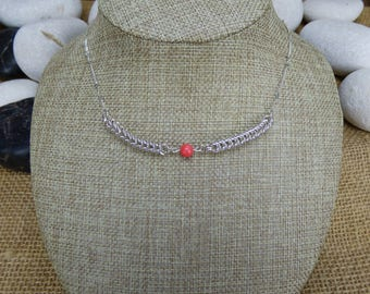 Sterling Silver Queens Chain and Coral Bead Necklace - Silver Necklace - Twisted Curb Chain Silver Necklace - Chainmail Beaded Necklace