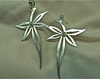 silver handcut leaf with pearl earrings