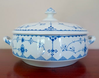 Furnivals Denmark Blue Round Covered Vegetable Dish