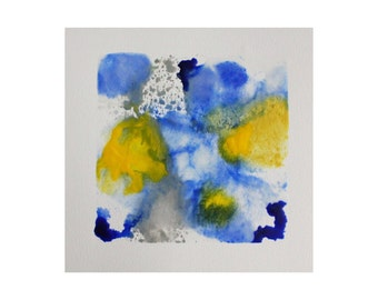 encaustic art - blue abstract wall art - encaustic painting - beeswax art - spring art - yellow - contemporary art