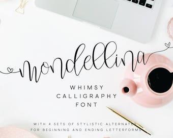 Mondellina Script + 6 logo pack / Script Font / Calligraphy Font / Modern Calligraphy / Digital Font / Wedding Font / Invitation Font