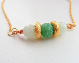 Gold and Green Agate Necklace