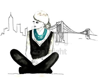 Fashion Illustration Watercolor Painting Print 'New York Dreaming' -- Home/office decor and wall art, Fashion prints, NYC