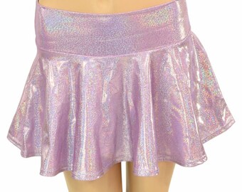 Lilac Purple Holographic Metallic Circle Cut Mini Skirt Rave Festival Clubwear EDM  -150624