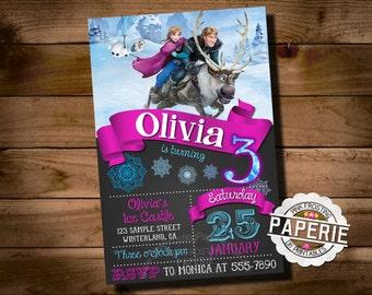 FROZEN PRINTABLE INVITATION, Custom Frozen Invitation For Girls Birthday Party, Frozen Party Decor, Winter Birthday, Custom Party Shoppe