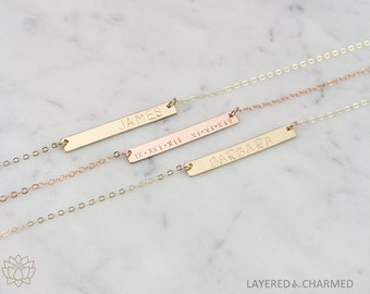 Name Bar Necklace, Bar Necklace Personalized, Name Plate Necklace, Layering Necklace,  Layered and Long Bar Necklace 36mm x 4.5mm LC404