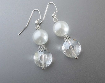 Wedding Pearl Earrings, Bridal crystal Earrings , Dangle Wedding Earrings, Wedding Jewelry