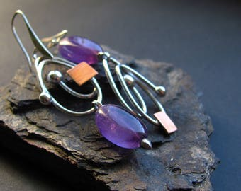 Amethyst earrings. Simple asymmetric copper and eco tin earrings. Hand crafted artisan earrings. One of a kind minimalist earrings