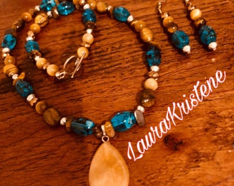 Teal and Earthtones Necklace & Earring Set