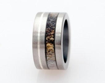 mens wedding band antler ring titanium band wedding ring
