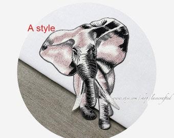 Elephant Embroidery Appliques Cotton Applique Trim Patch Sewing on Animal Applique Patch for costume design