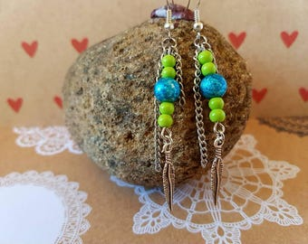 Green and blue feathered earrings