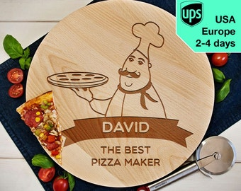 Best Pizza Maker - Personalised Rotating Serving Board, Laser Engraved Pizza Board