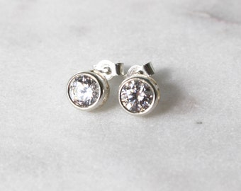 Swarovski White Zirconia Sterling Silver Stud Earrings  • Gifts for women • Bridesmaid Earrings • Prom Earrings