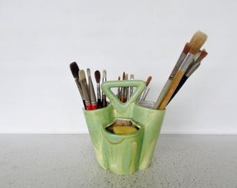 Vintage Paintbrush Holder Pottery 32 Paint Brushes with Artist Caddy