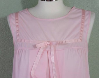 Vintage 70's Nighty, Pale Pink Nightgown, Nylon Nightgown