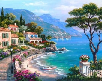 Diamond Painting diamond seaside village embroidery large size