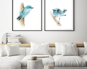 Blue Birds Fine Art Prints Set, 2 Art Prints, Minimalist Blue Bird  Watercolor Print, Bird Watercolor Painting Art, Bird Art Prints Set