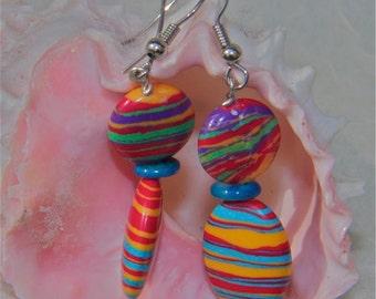 EARRINGS: Rainbow earrings Multi colored red blue orange striped Turkish Turquoise gemstone dangle fun