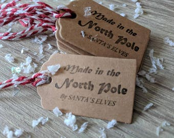 10x handmade Christmas tags, Made in the North Pole tags, Christmas gift tags