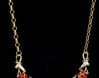 "16"" Necklace adjustable ruby red stones gold metal 1960's"