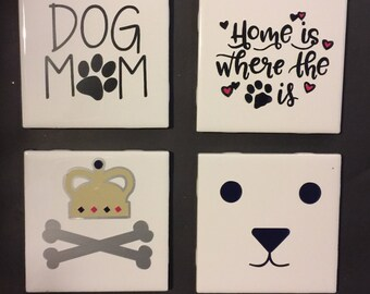 Custom 4pc Coaster Set - Dog Lover