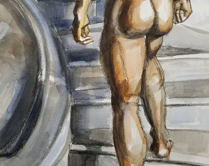 Cool Marble Treads, watercolor on cotton paper 11x14 inches by KennEy Mencher