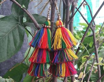 Multi-color tassels earrings,bohemian earrings,Layered tassels earrings,Three Layered earrings,Hand made earrings.
